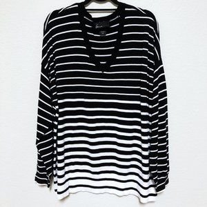 LANE BRYANT STRIPE SWEATER WITH ZIPPER DETAILS